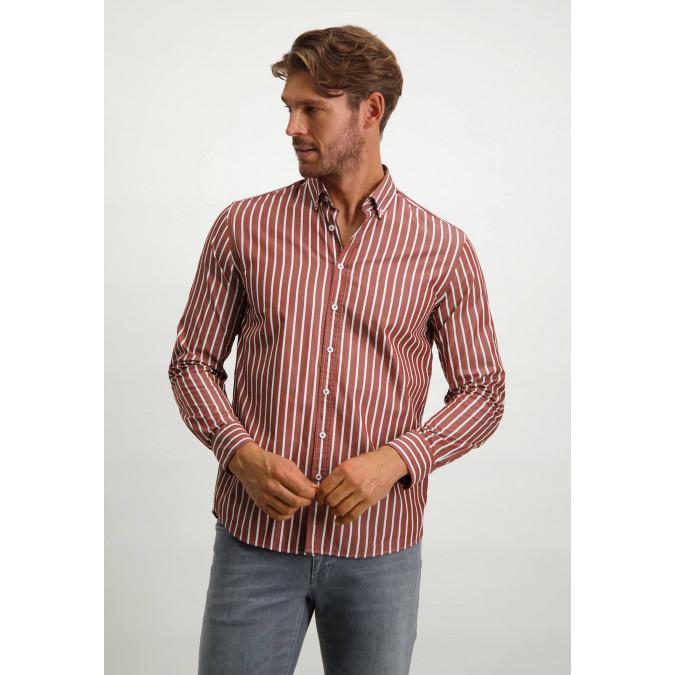 Striped-organic-cotton-shirt---brick/white