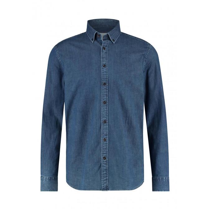 Indigo-shirt-with-long-sleeves---cobalt-plain