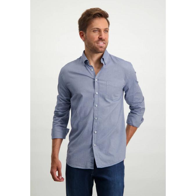 Stretch-cotton-Oxford-shirt---cobalt/white