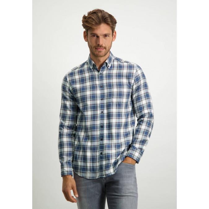 Cotton-twill-shirt---grey-blue/emerald-green