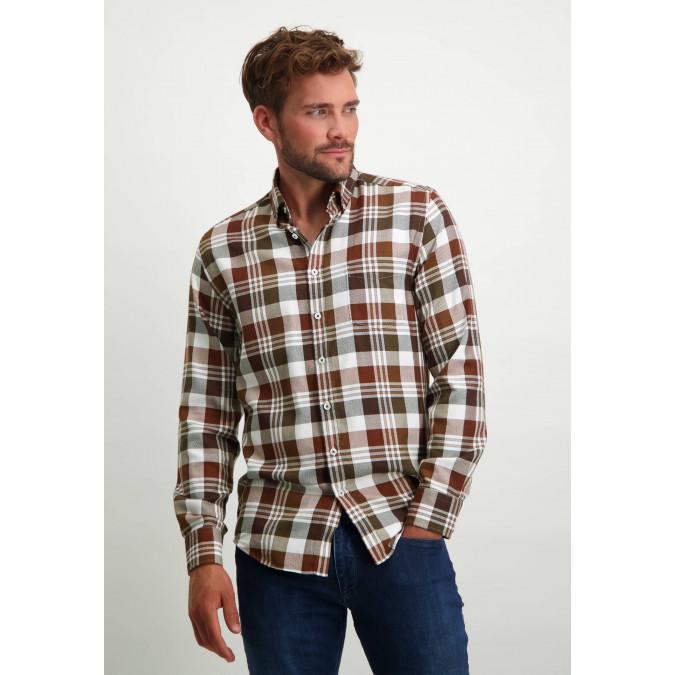 Cotton-shirt-with-chequered-design---brick/midnight