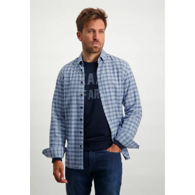 Geruit-overhemd-met-button-down---lichtblauw/kobalt