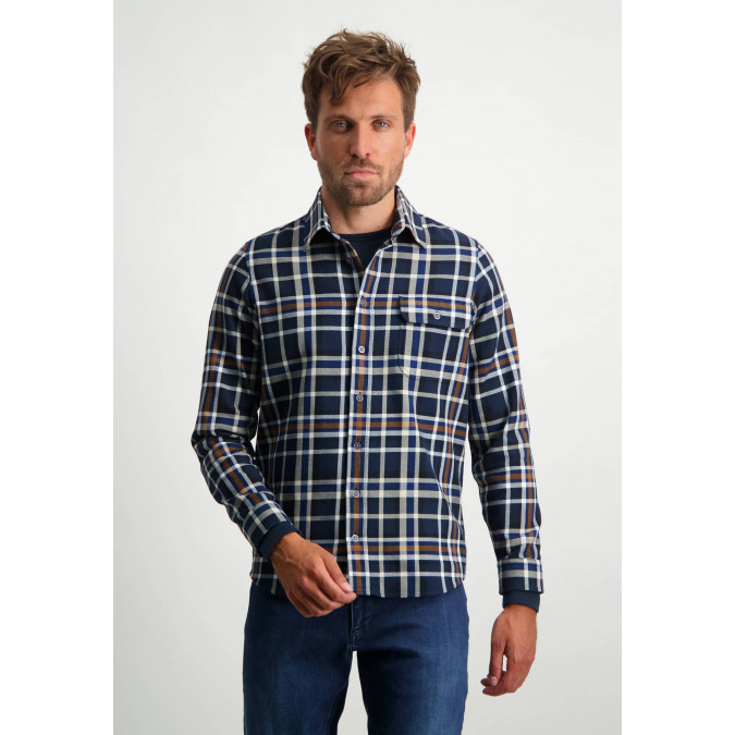 Checked-overshirt-with-chest-pocket---midnight/cognac