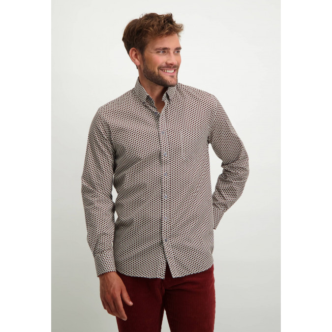 Cotton-stretch-shirt-with-print---brick/midnight