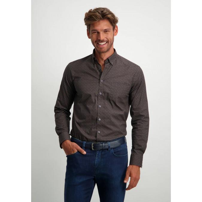 Overhemd-met-all-over-print---sepia/oud-roze