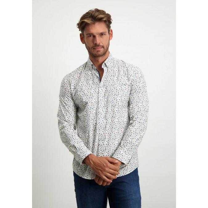 Print-organic-cotton-shirt---dark-blue/silvergrey