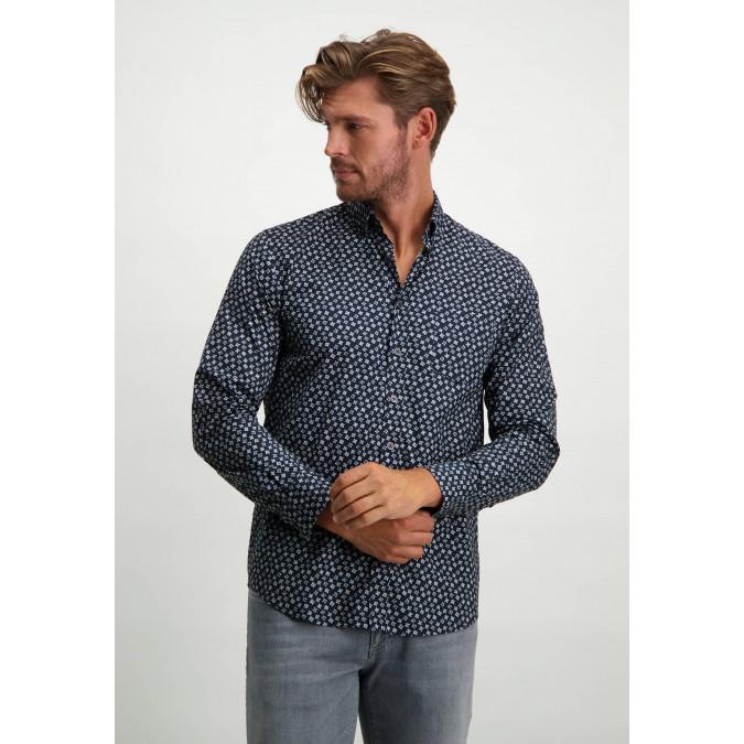Button-down-shirt-in-stretch-cotton---dark-blue/silvergrey
