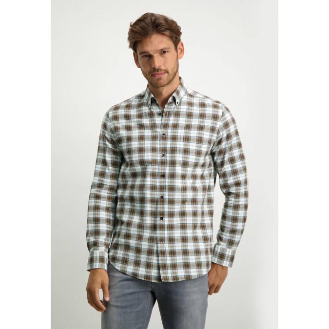 Cotton-shirt-with-check-pattern---cognac/dark-brown