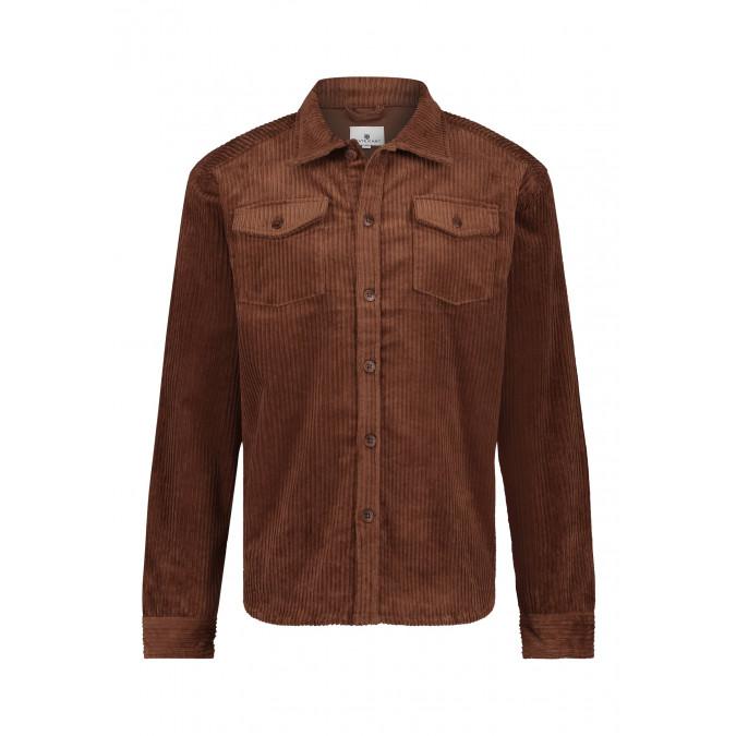 Overshirt-with-flap-pockets---brick-plain