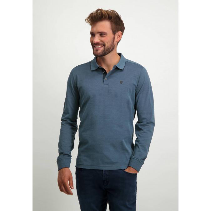 Piqué-sports-shirt-in-mercerized-cotton---midnight/grey-blue