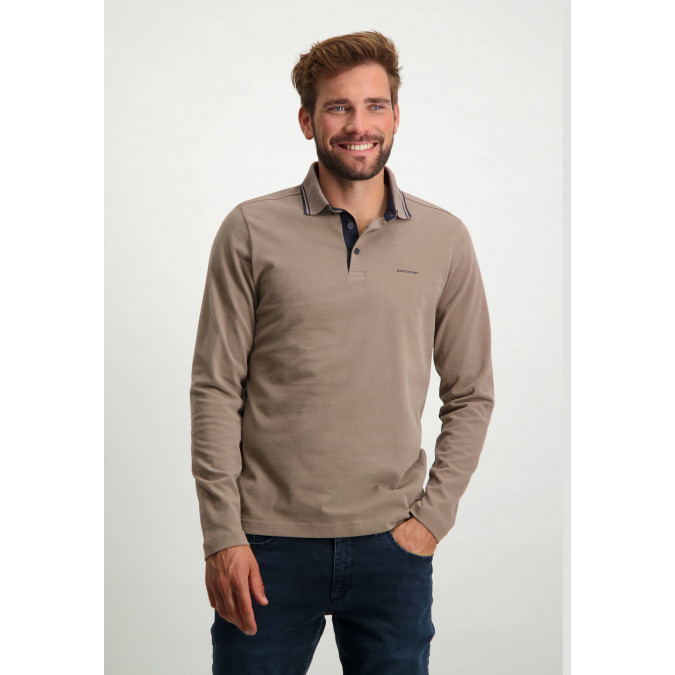Heavily-brushed-polo-shirt-with-regular-fit---sepia-plain