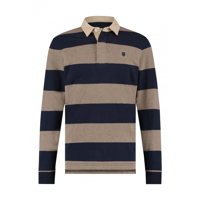Rugby-shirt-with-stripe-pattern---cognac/midnight