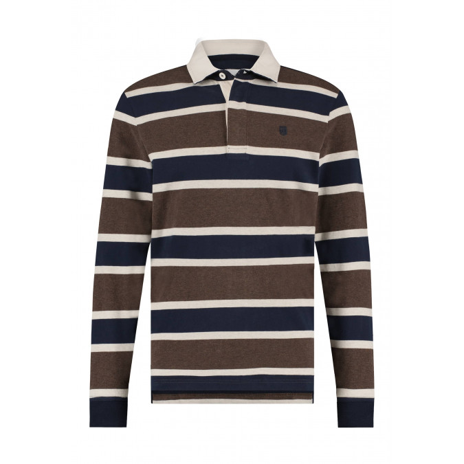 Rugby-shirt-with-contrasting-collar---cognac/midnight