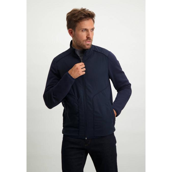 Cotton-sweatshirt-with-zip---dark-blue-plain