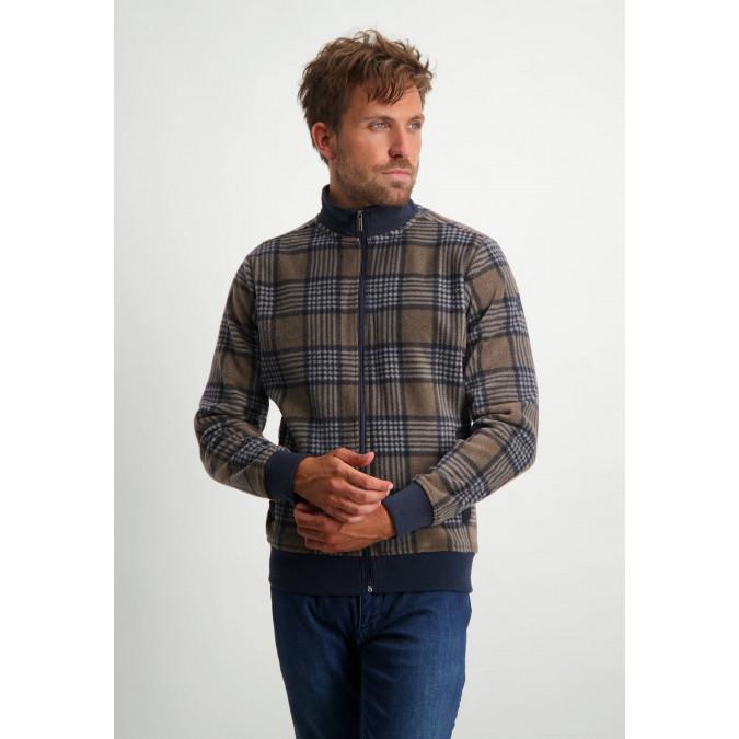 Sweatshirt-with-nylon-details---dark-blue/dark-brown