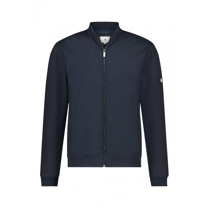 Bomber-style-polyester-sweatshirt---dark-blue-plain