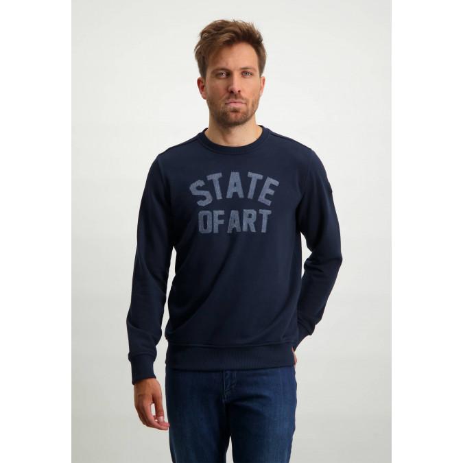 Sweatshirt-with-round-neckline---dark-blue-plain