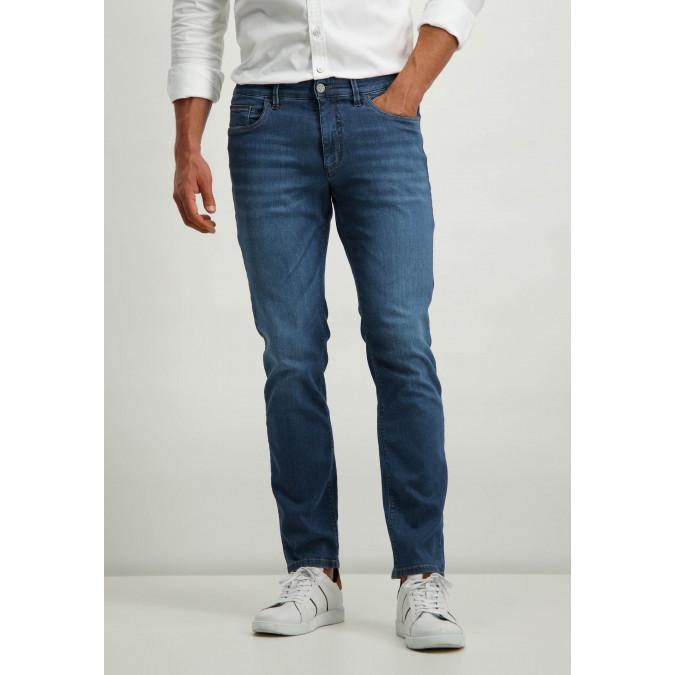 Cotton-stretch-jeans---cobalt-plain