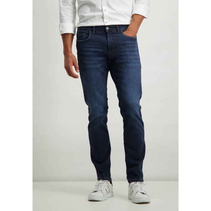 Cotton-stretch-jeans---navy-plain