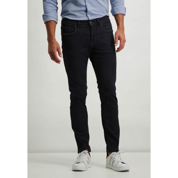 Cotton-stretch-jeans---dark-blue-plain