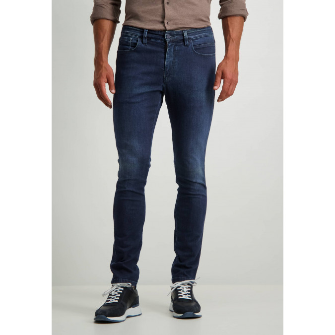 Stretch-trousers-with-button-and-zip---cobalt-plain