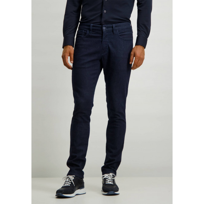 Stretch-trousers-with-button-and-zip---dark-blue-plain