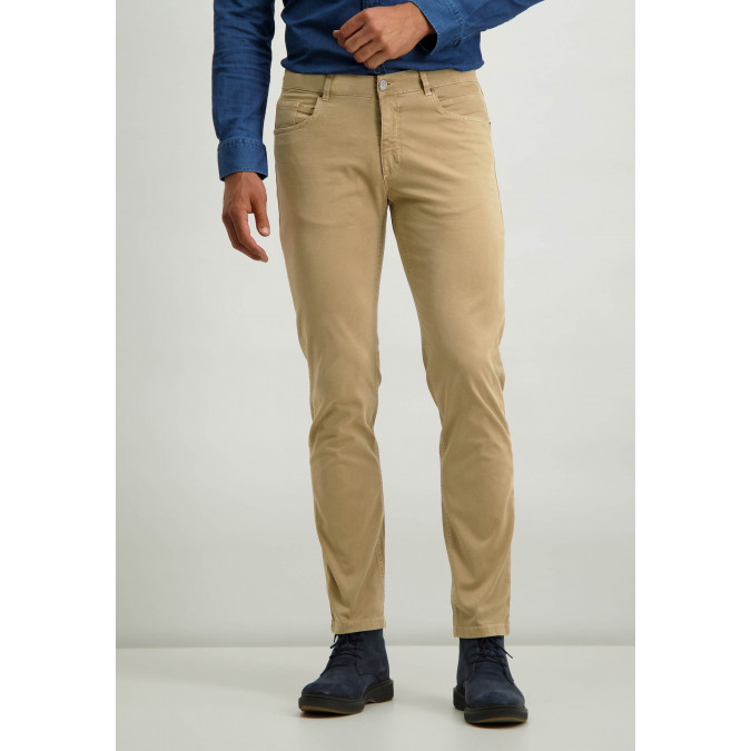 Twill-stretch-trousers-with-button-and-zip---sepia-plain