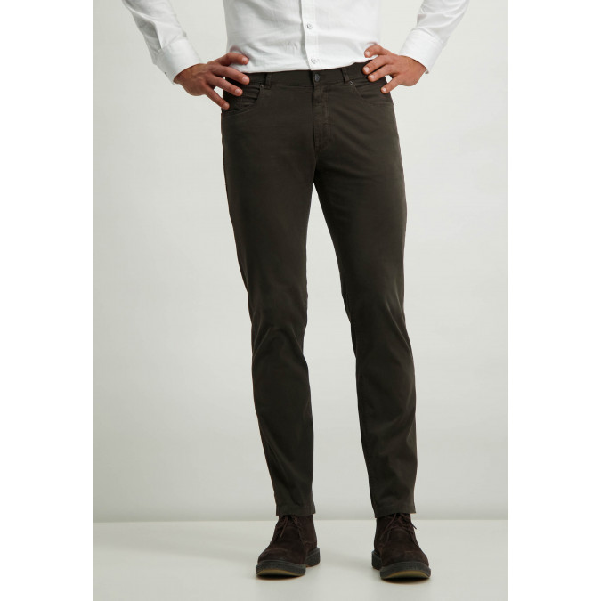 Twill-stretch-trousers-with-button-and-zip---dark-brown-plain