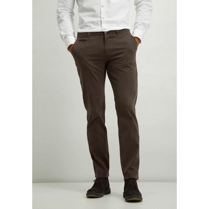 Cotton-stretch-chinos---dark-brown-plain