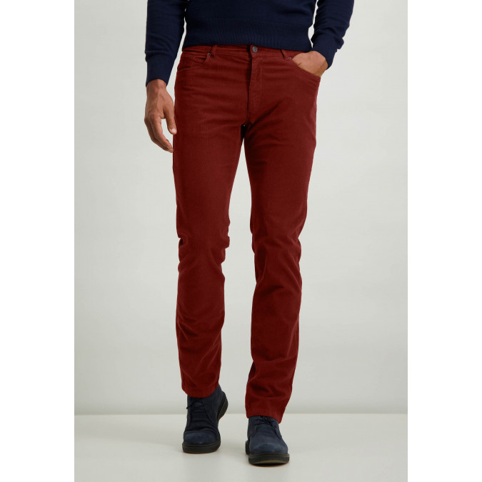 Cotton-stretch-trousers-with-regular-fit---brick-plain