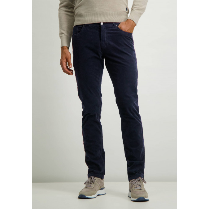 Cotton-stretch-trousers-with-regular-fit---dark-blue-plain