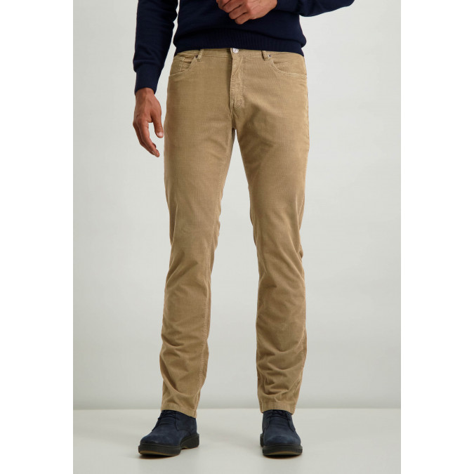 Cotton-stretch-trousers-with-regular-fit---sepia-plain