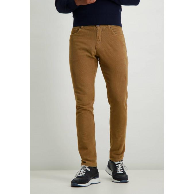 Corduroy-stretch-trousers-in-cotton---sepia-plain