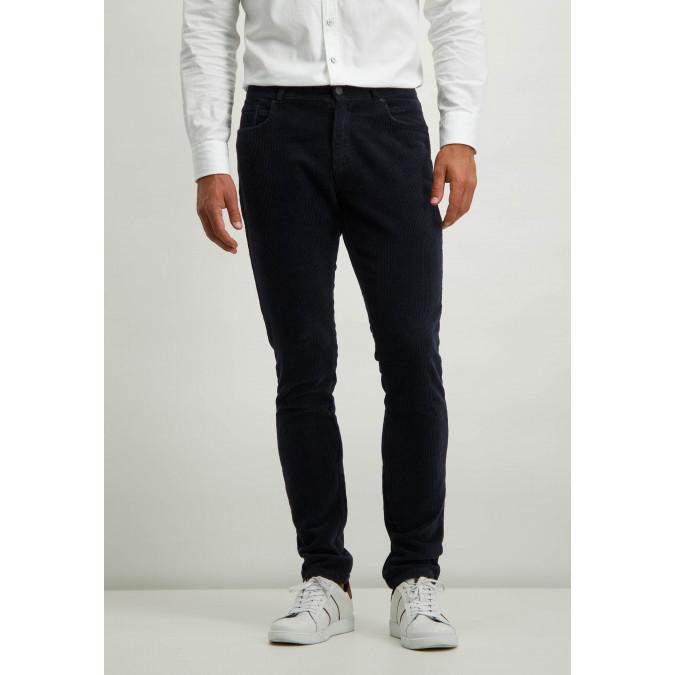 Stretch-trousers-in-irregular-corduroy---dark-blue-plain