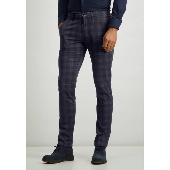 Stretch-chinos-with-side-pockets---dark-blue-plain