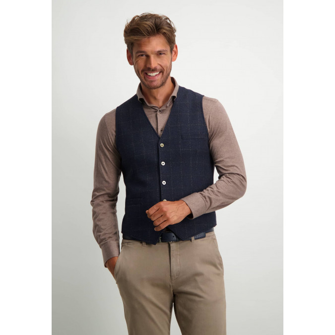 Wool-blend-waistcoat-with-checked-pattern---midnight/cobalt