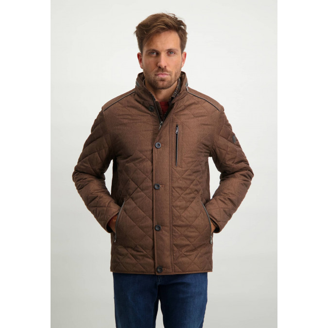 Quilted-mid-length-jacket---brick-plain