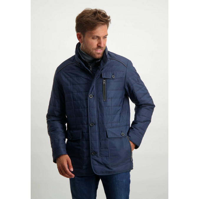 Quilted-jacket-with-artwork-on-the-sleeve---dark-blue-plain