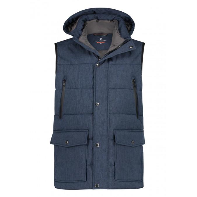 Body-warmer-with-mélange-print---dark-blue-plain