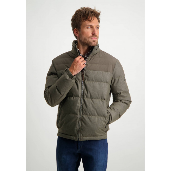 Wool-look-jacket-with-nylon-details---sepia-plain