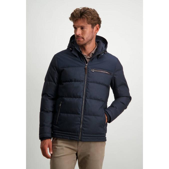 Mid-length-jacket-with-detachable-hood---dark-blue-plain