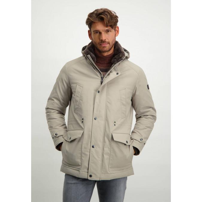 Parka-with-detachable-hood---cream-plain