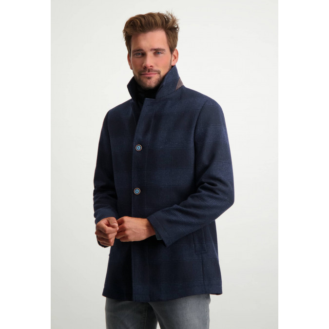 Check-jacket-with-modern-fit-and-inset---dark-blue-plain