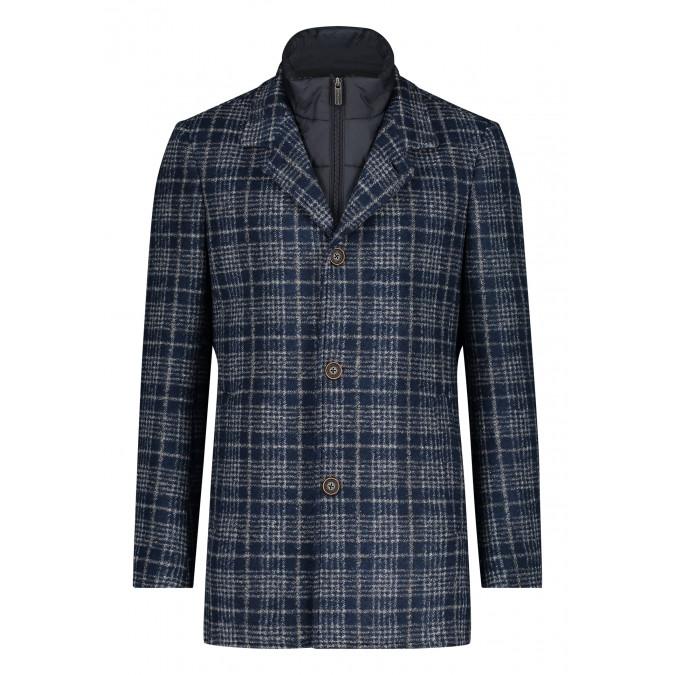 Chequered-jacket-medium-length-with-button-closure---dark-blue/silvergrey