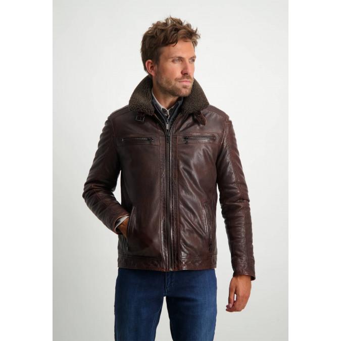 Short-lamb-leather-jacket---brown-plain