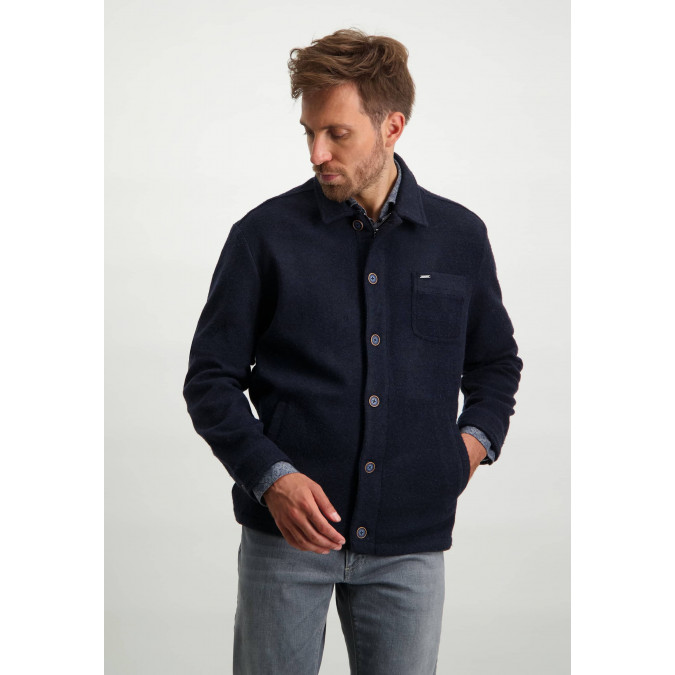 Jacket-in-medium-length-with-zip-and-button-closure---dark-blue-plain