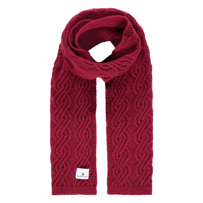 Lambswool-blend-cable-knit-scarf---brick-plain
