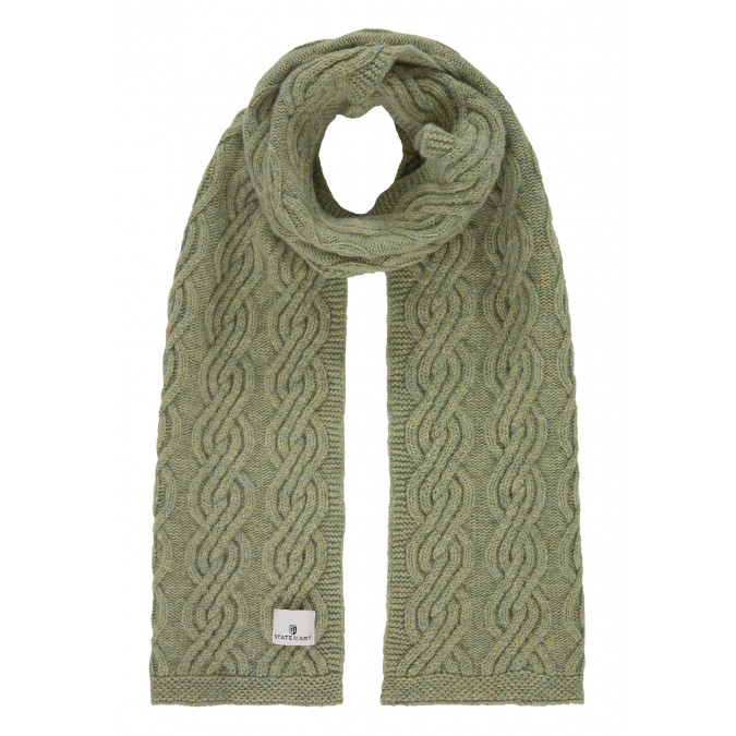 Lambswool-blend-cable-knit-scarf---leafgreen-plain