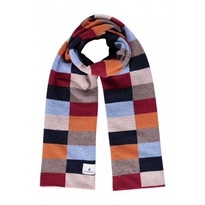 Lambswool-blend-scarf-with-logo-patch---midnight/brick