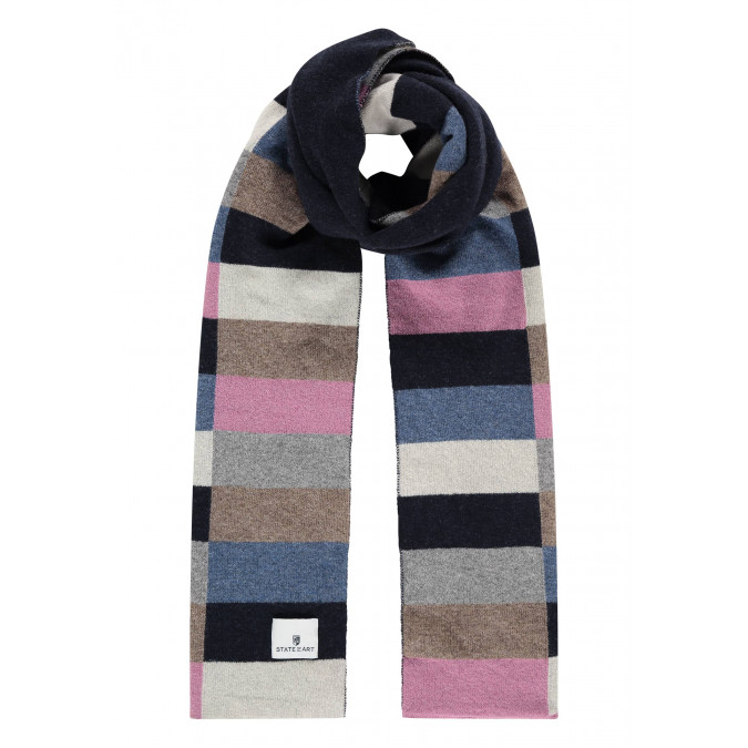 Lambswool-blend-scarf-with-logo-patch---midnight/dusty-pink
